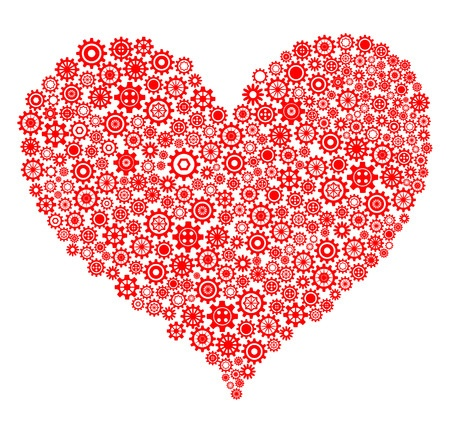 27473585 - red heart made of gear wheels over white